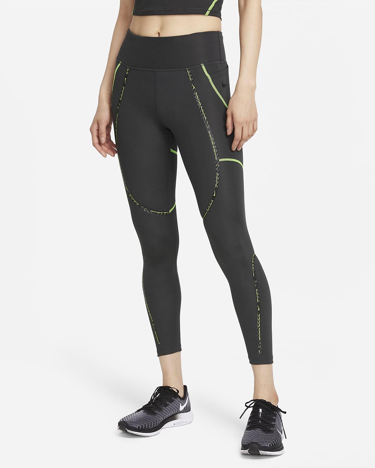 เลกกิ้งวิ่งเอวปานกลาง 7/8 ส่วนติดแถบคาดผู้หญิง Nike Epic Faster