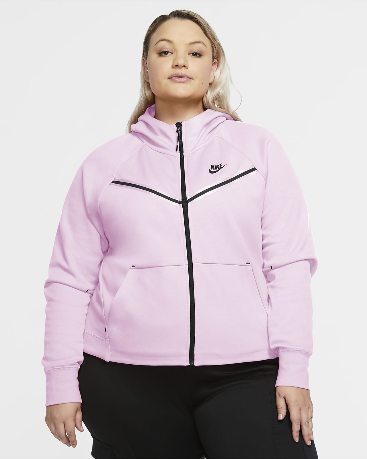 Nike Sportswear Tech Fleece Windrunner hettejakke med hel glidelås til dame (Plus Size)