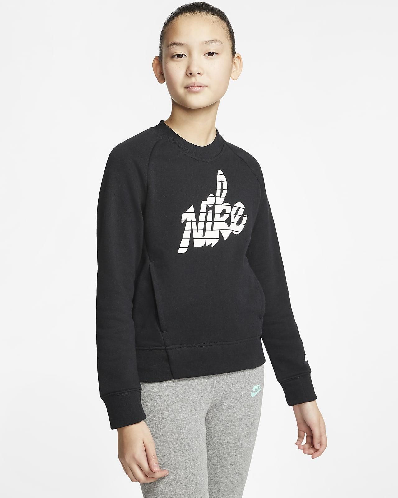 Nike Sportswear-crewtrøje med grafik til store børn (piger)