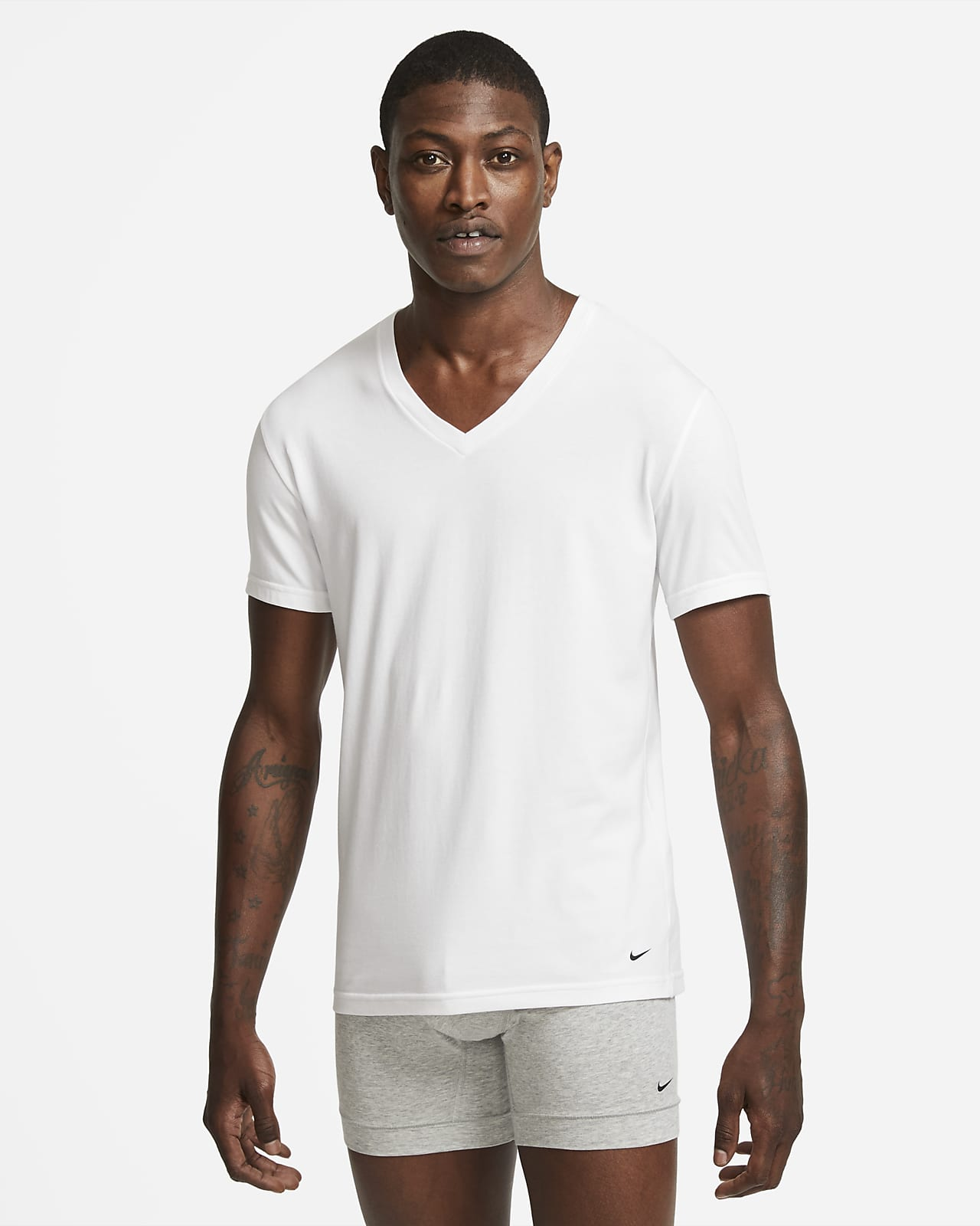 Nike Everyday Cotton Stretch Men's Slim Fit V-Neck Undershirt (2-Pack)