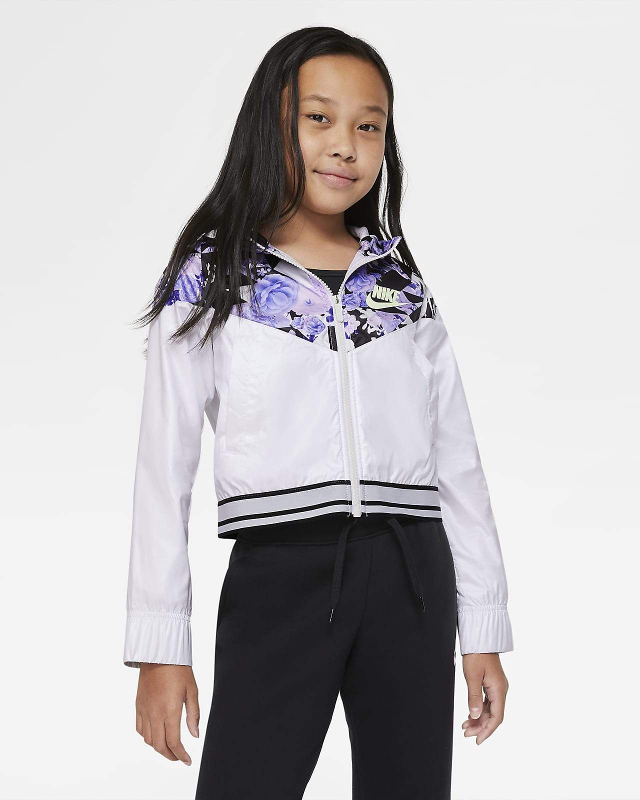 Chamarra con gráfico para niñas talla grande Nike Sportswear Windrunner