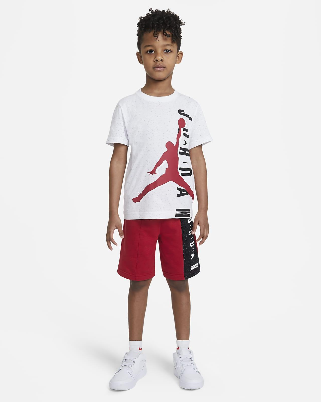 Conjunto de playera y shorts para niños talla pequeña Jordan Jumpman