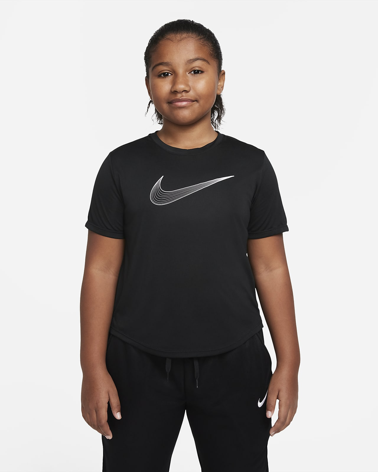 Nike Dri-FIT One Older Kids' (Girls') Short-Sleeve Training Top (Extended Size)