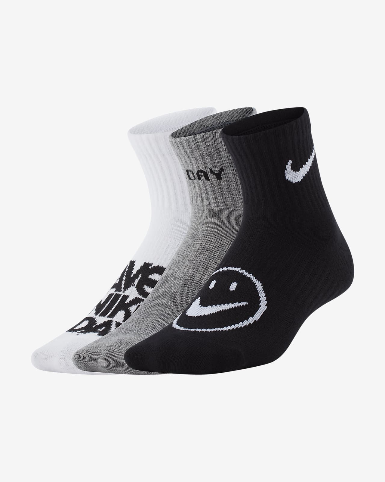 Meias pelo tornozelo leves Nike Everyday Júnior (3 pares)