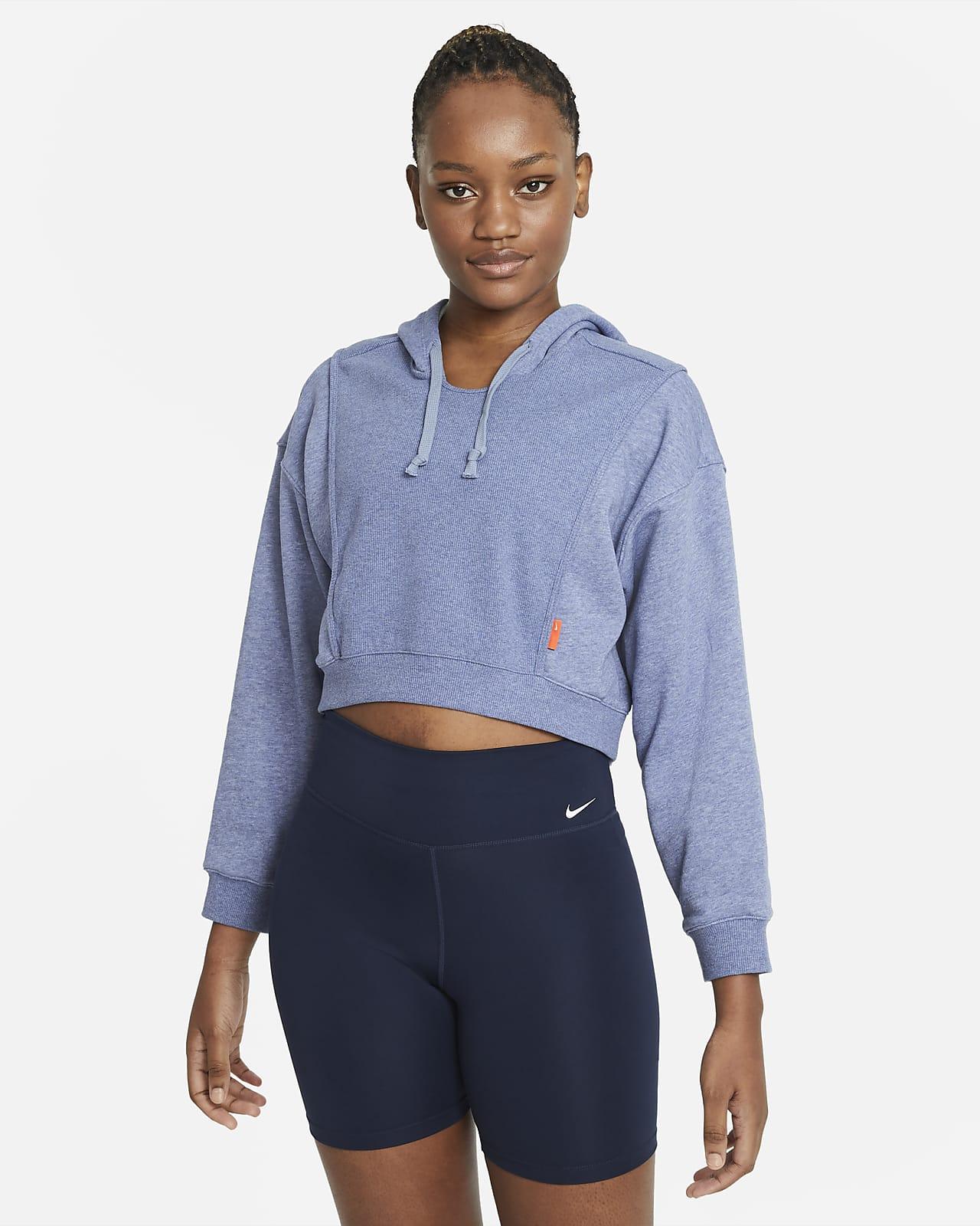 Nike Dri-FIT kort treningshettegenser i fleece til dame