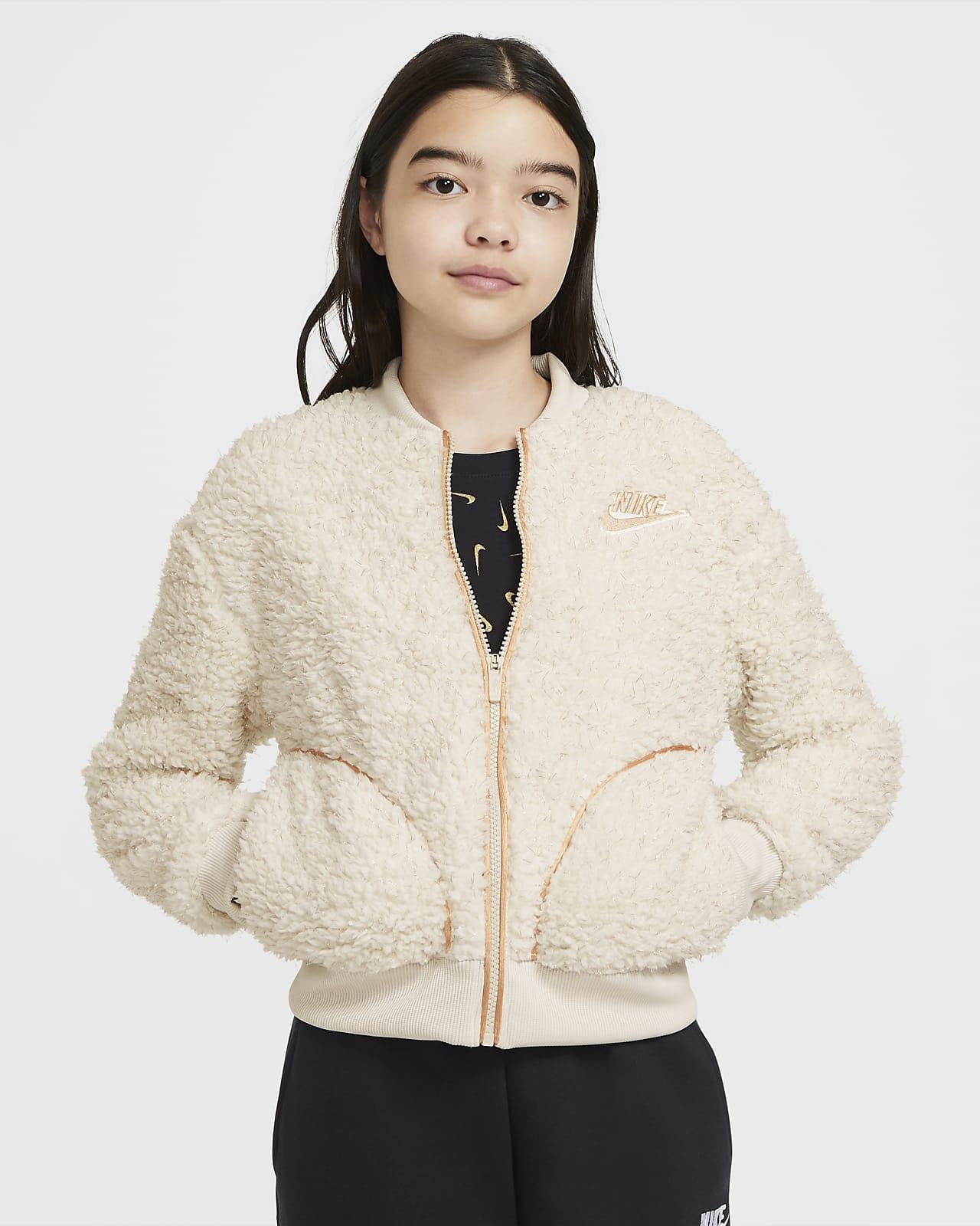 Куртка из материала Sherpa с молнией во всю длину для девочек школьного возраста Nike Sportswear