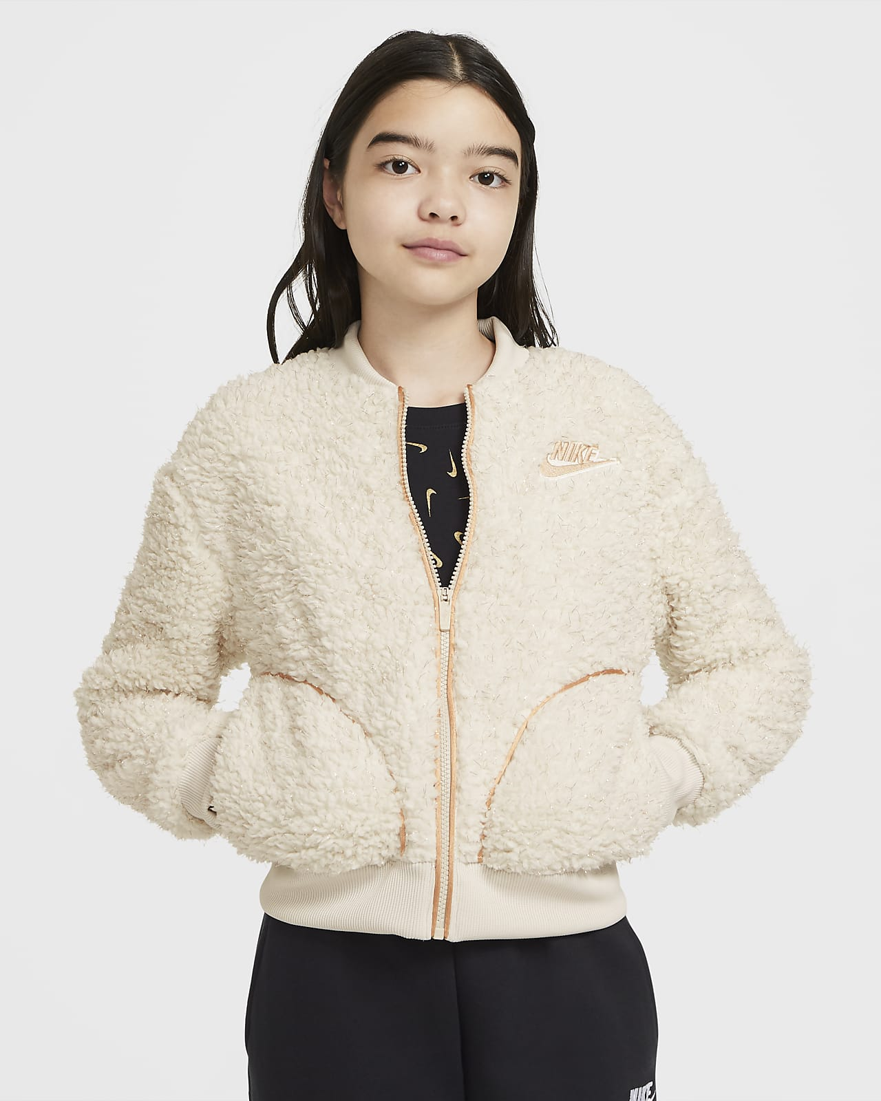 Nike Sportswear Older Kids' (Girls') Full-Zip Sherpa Jacket