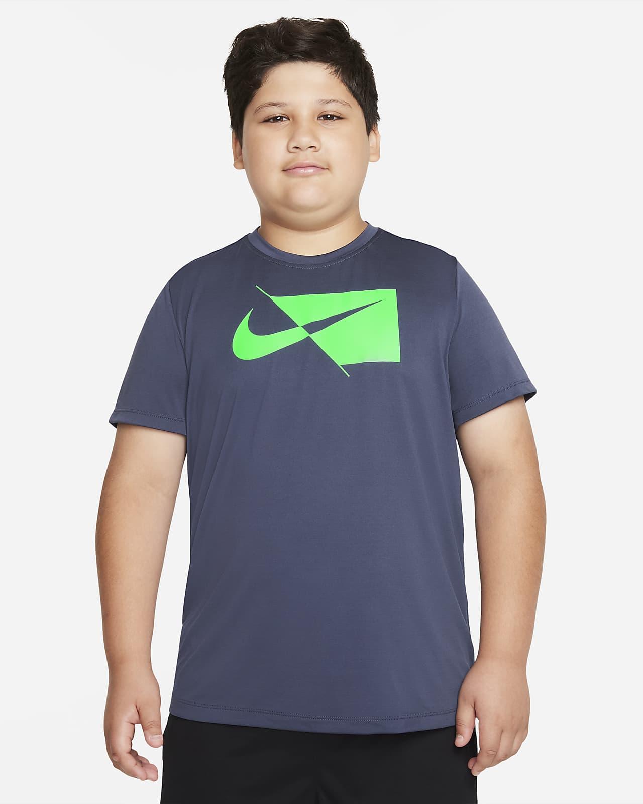 Camiseta de entrenamiento de manga corta para niños talla grande Nike (talla extendida)
