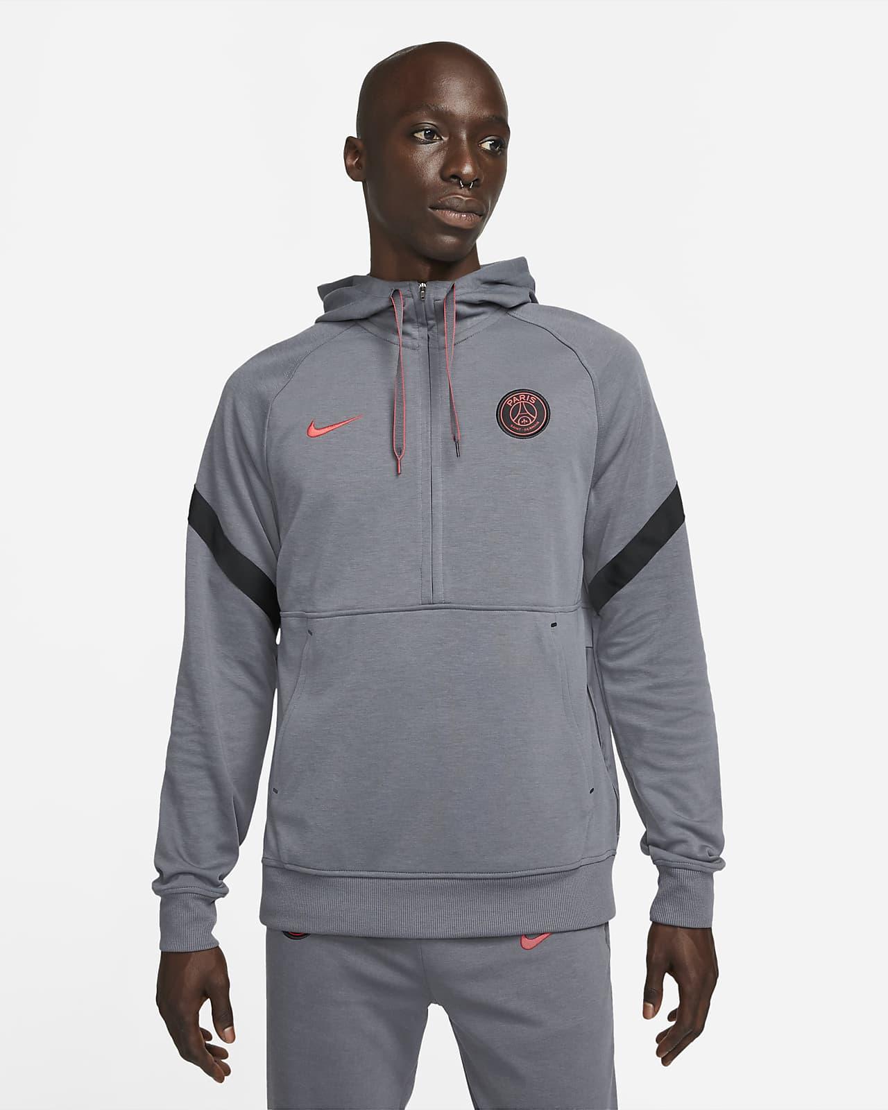 Paris Saint-Germain Fleece-Fußball-Hoodie mit Halbreißverschluss für Herren