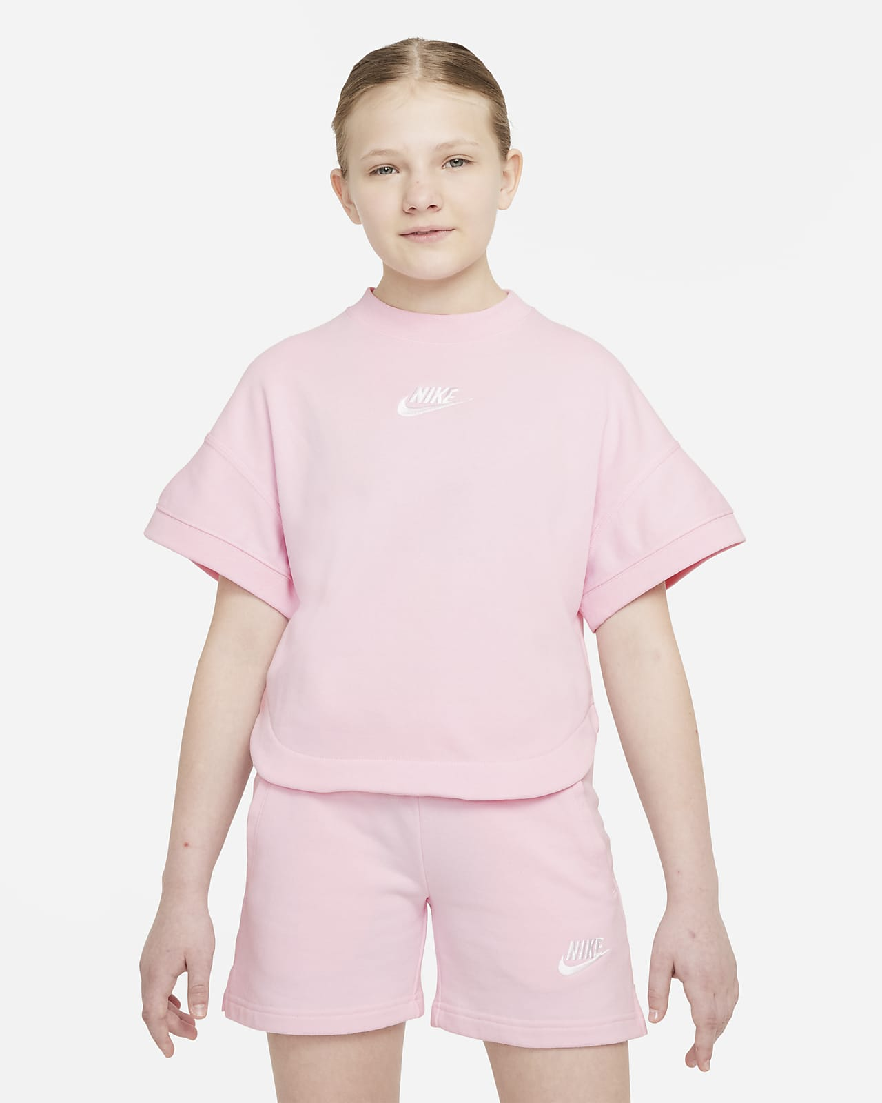 Nike Sportswear French Terry 大童(女孩)短袖上衣