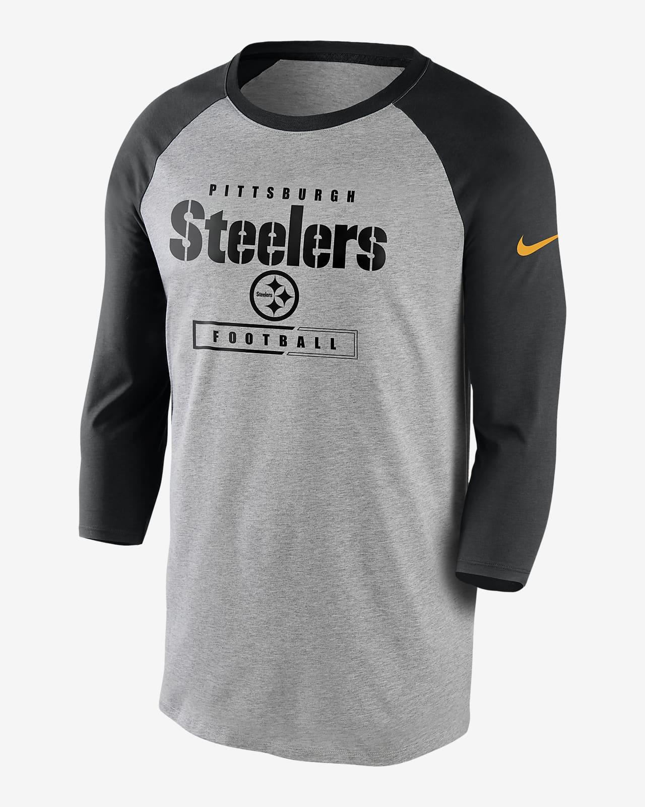 Nike Wordmark Raglan (NFL Steelers) Men's 3/4-Sleeve T-Shirt