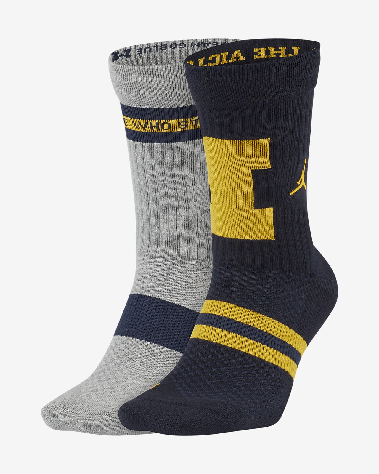 Jordan College Multiplier (Michigan) Crew Socks (2 pairs)