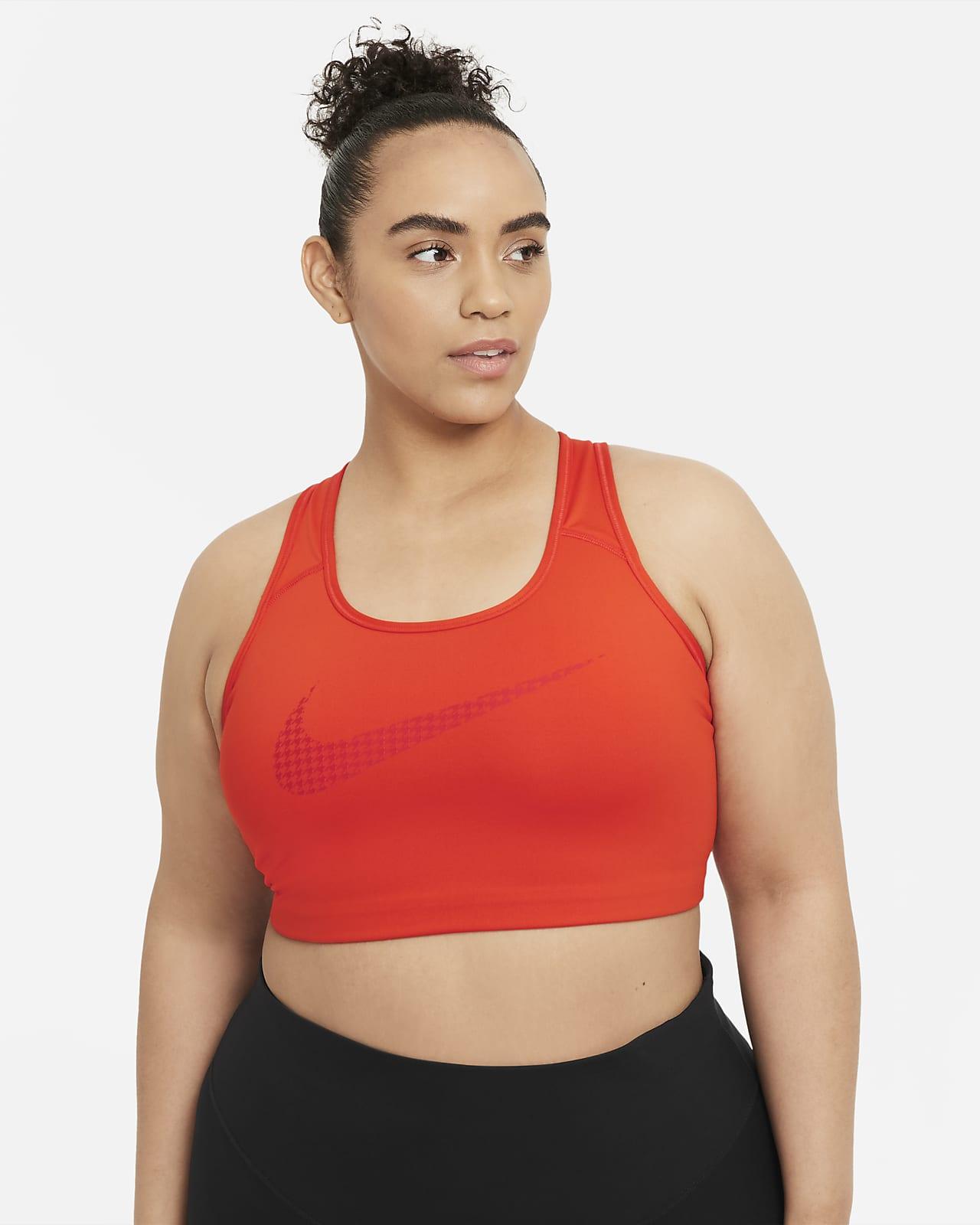 Nike Dri-FIT Swoosh Icon Clash Orta Destekli Dolgusuz Kadın Spor Sütyeni (Büyük Beden)