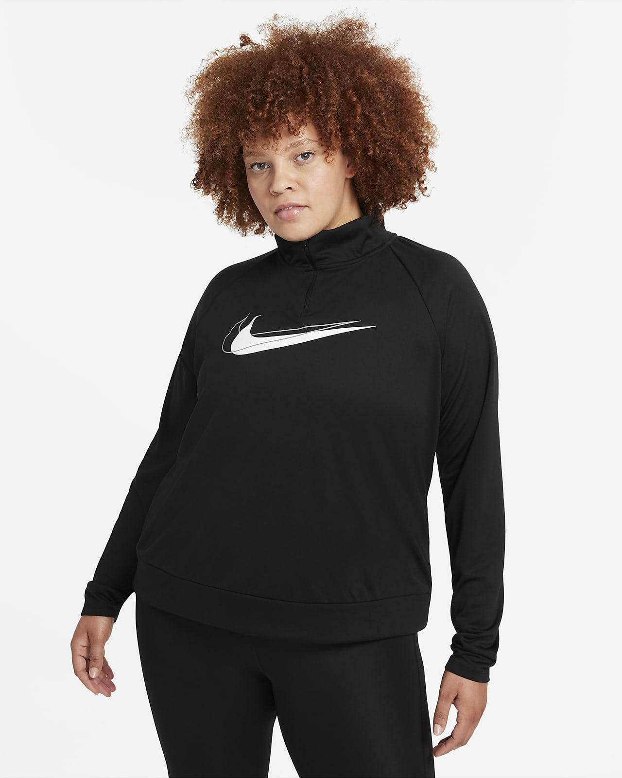 Nike Dri-FIT Swoosh Run rövid cipzáras női aláöltözet futáshoz (plus size méret)