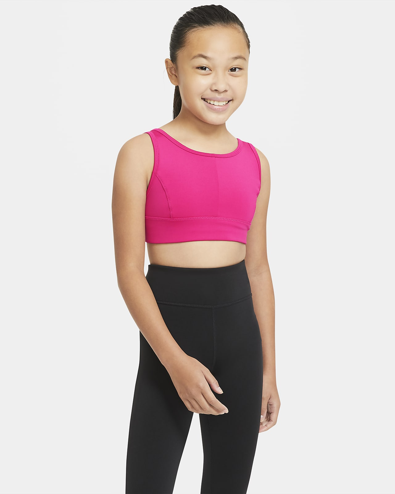 Αθλητικός στηθόδεσμος σε μακριά γραμμή Nike Swoosh Luxe για μεγάλα κορίτσια