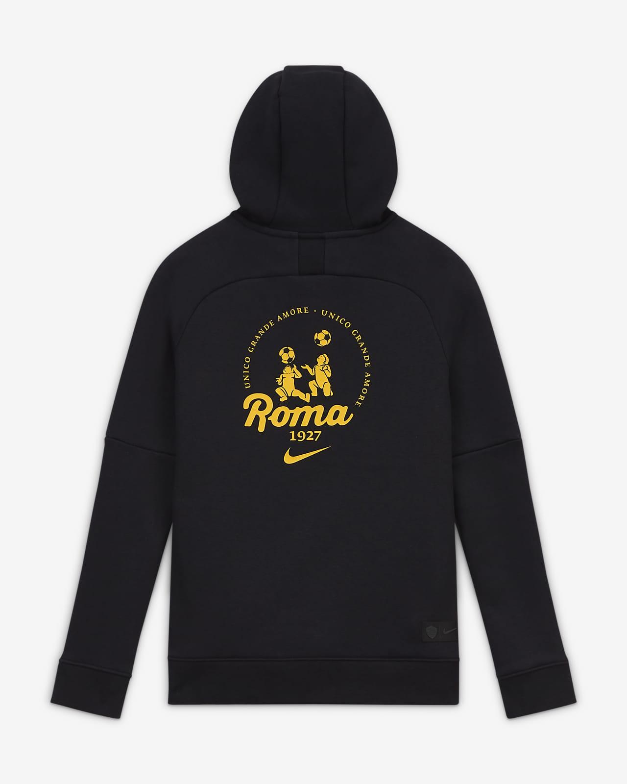 Felpa da calcio pullover in fleece con cappuccio AS Roma - Ragazzi