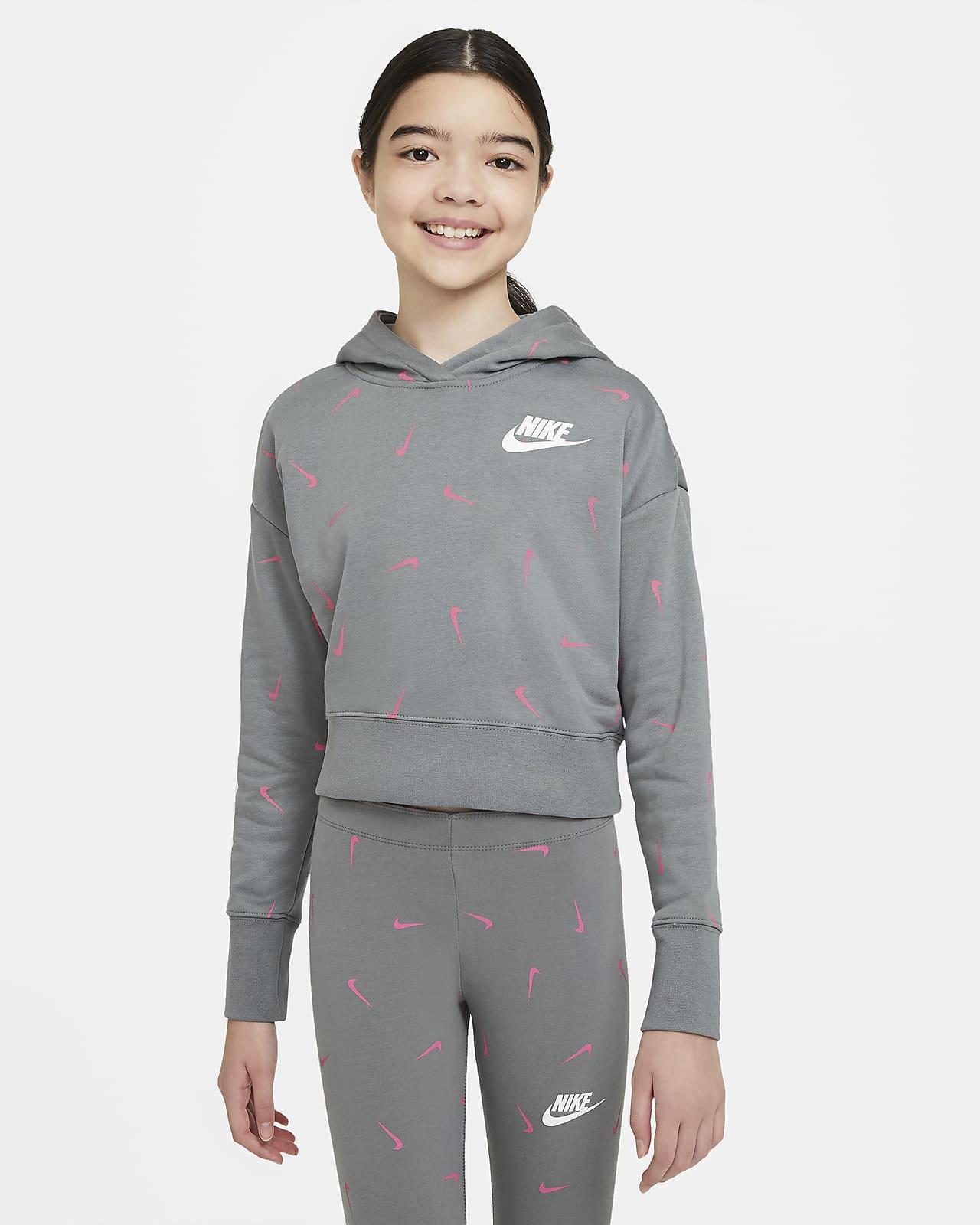Nike Sportswear Fransız Havlu Kumaşı Kısaltılmış Genç Çocuk (Kız) Kapüşonlu Sweatshirt'ü