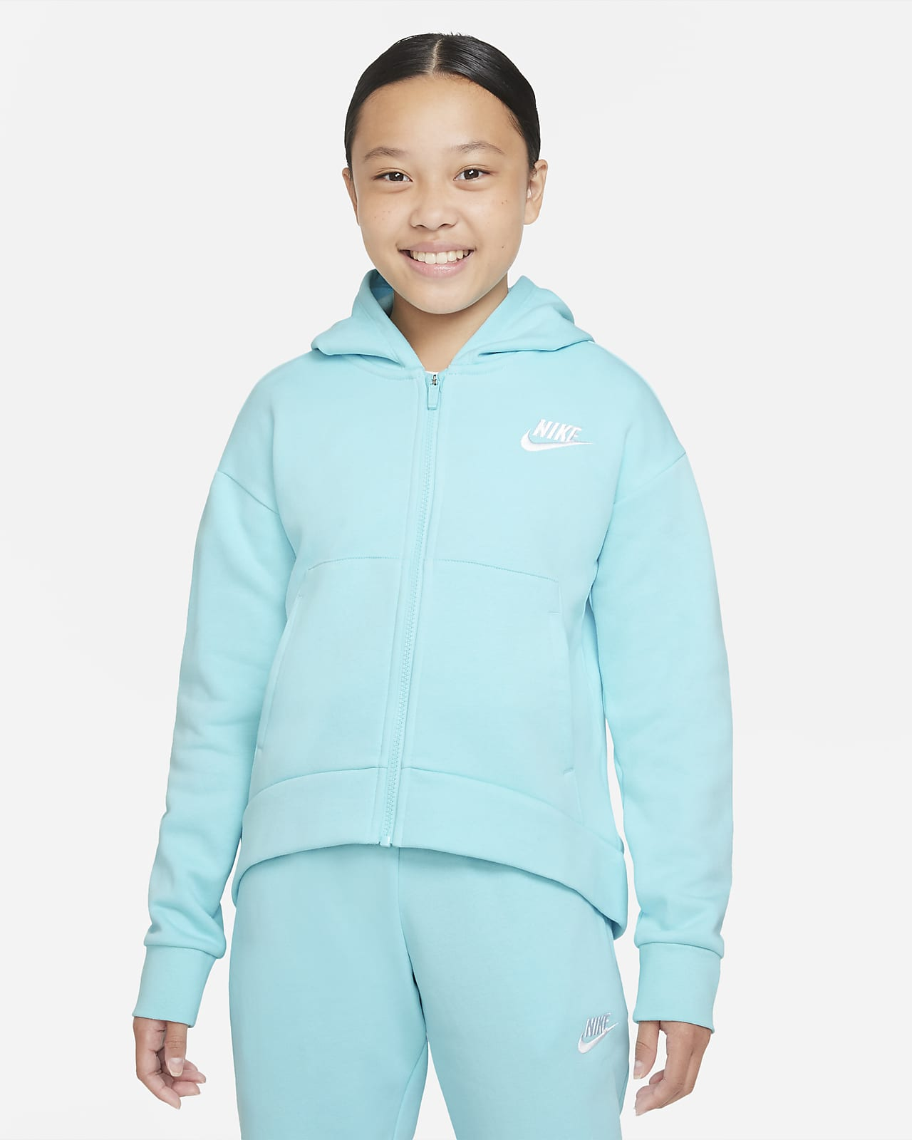 Nike Sportswear Club Fleece Big Kids' (Girls') Full-Zip Hoodie
