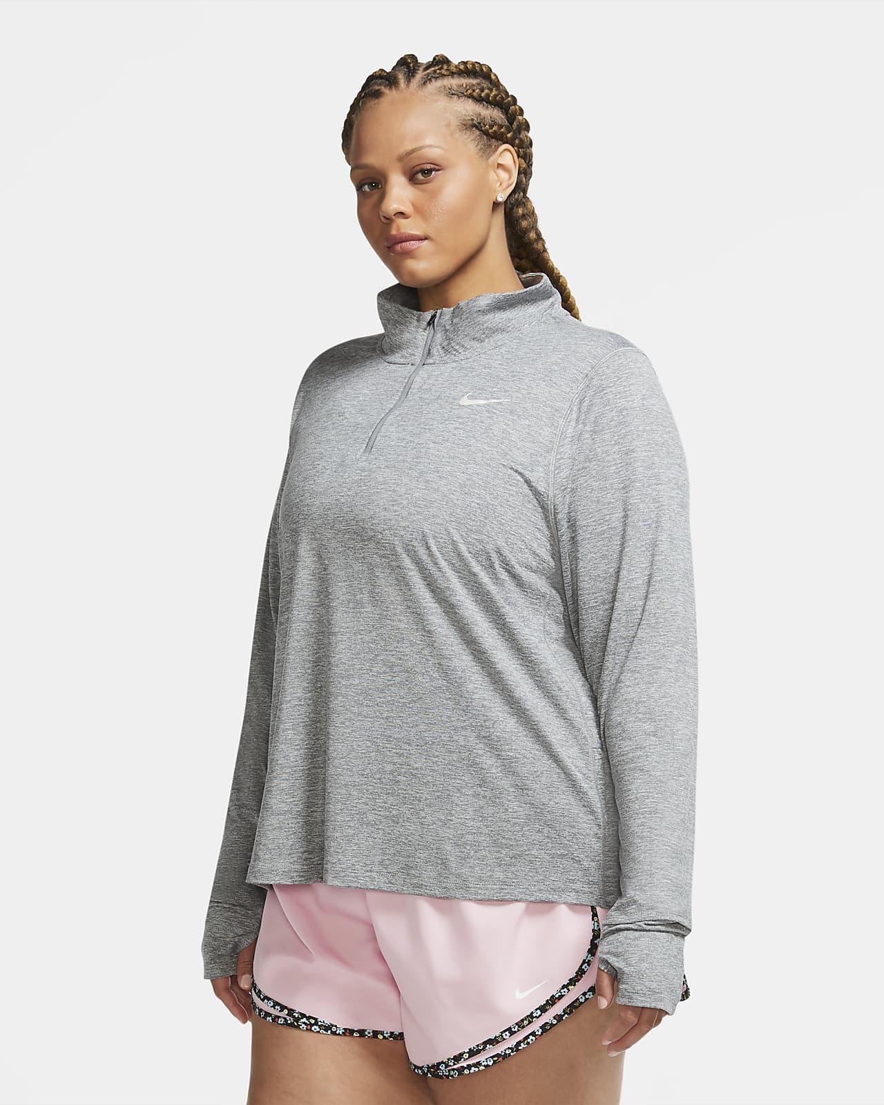 Camiseta de running de medio cierre para mujer Nike Element (talla grande)