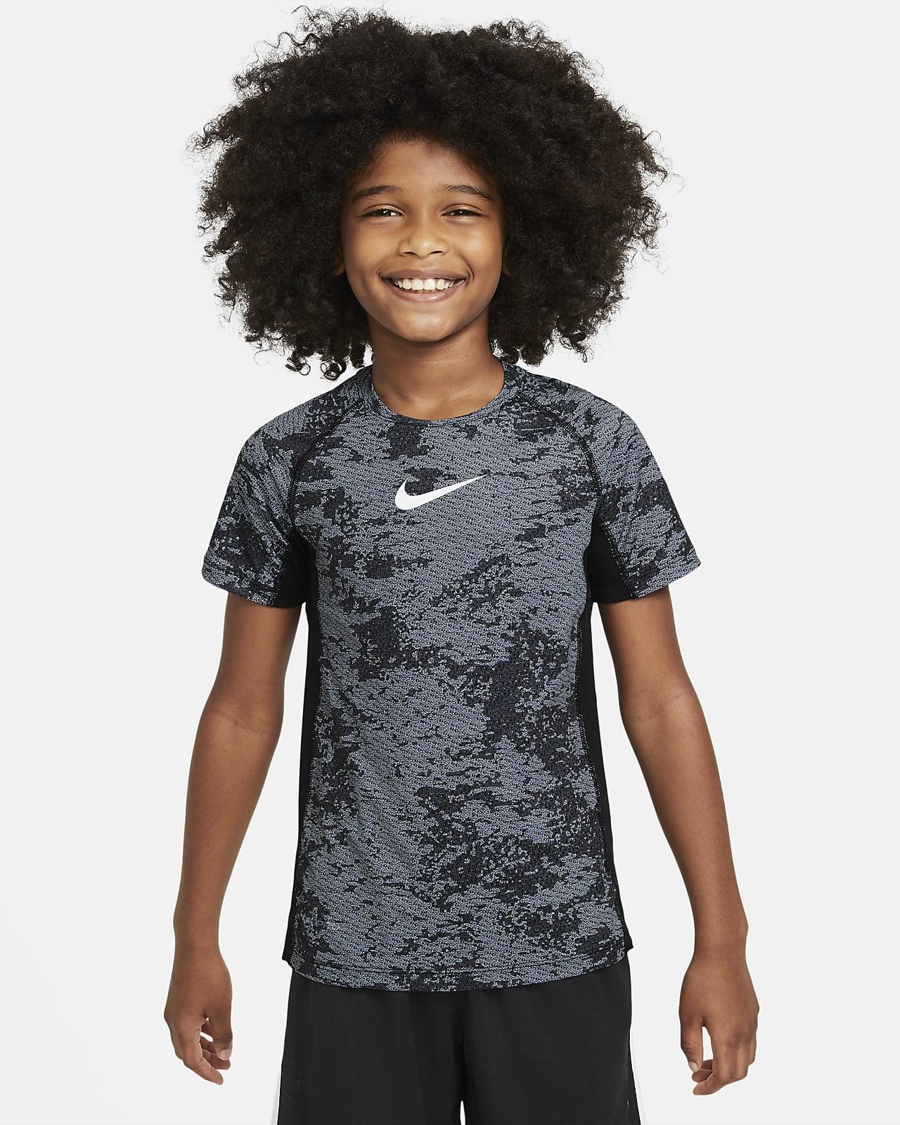 Εμπριμέ μπλούζα προπόνησης Nike Pro για μεγάλα αγόρια