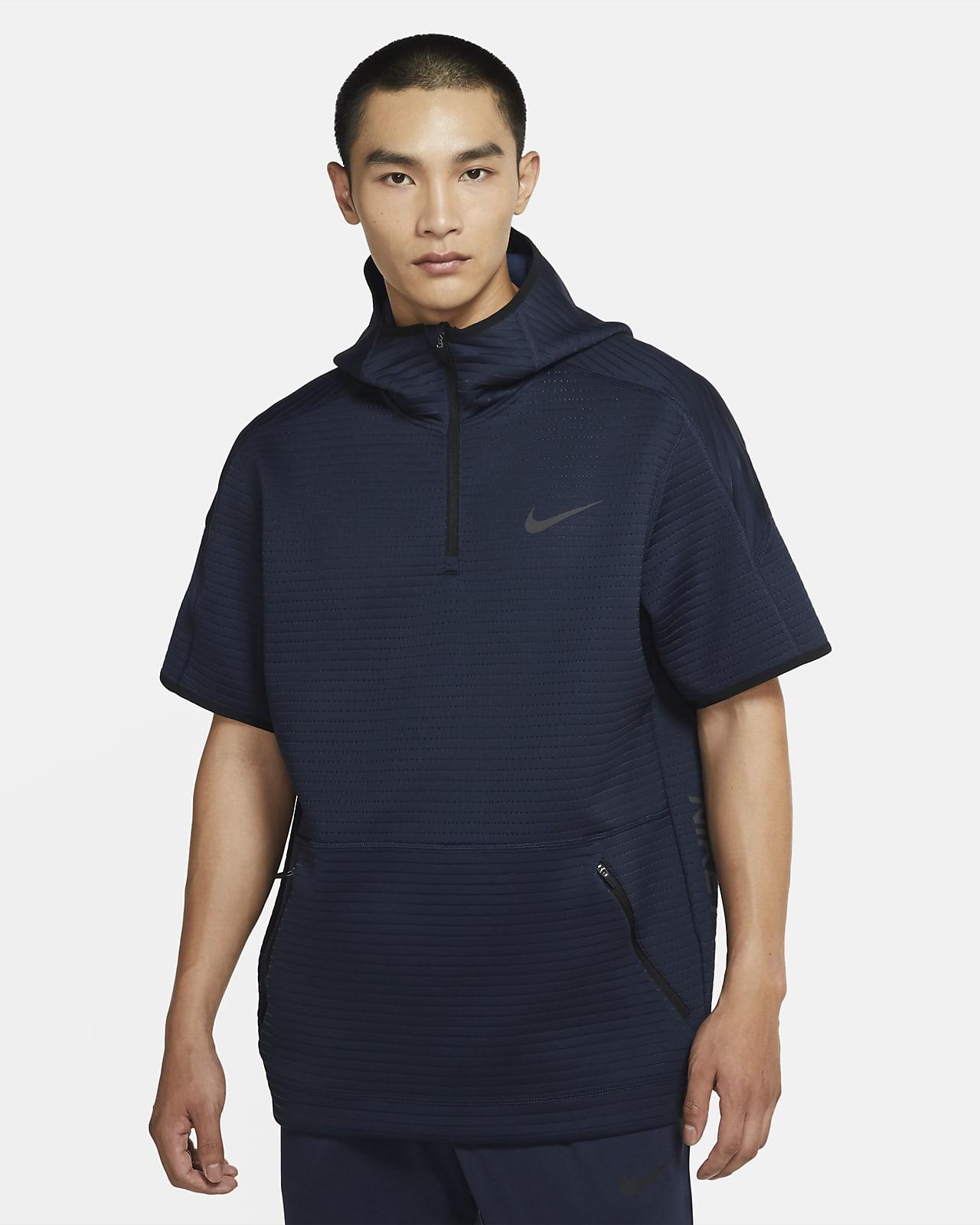 Męska bluza z kapturem, krótkim rękawem i zamkiem 1/4 Nike Pro