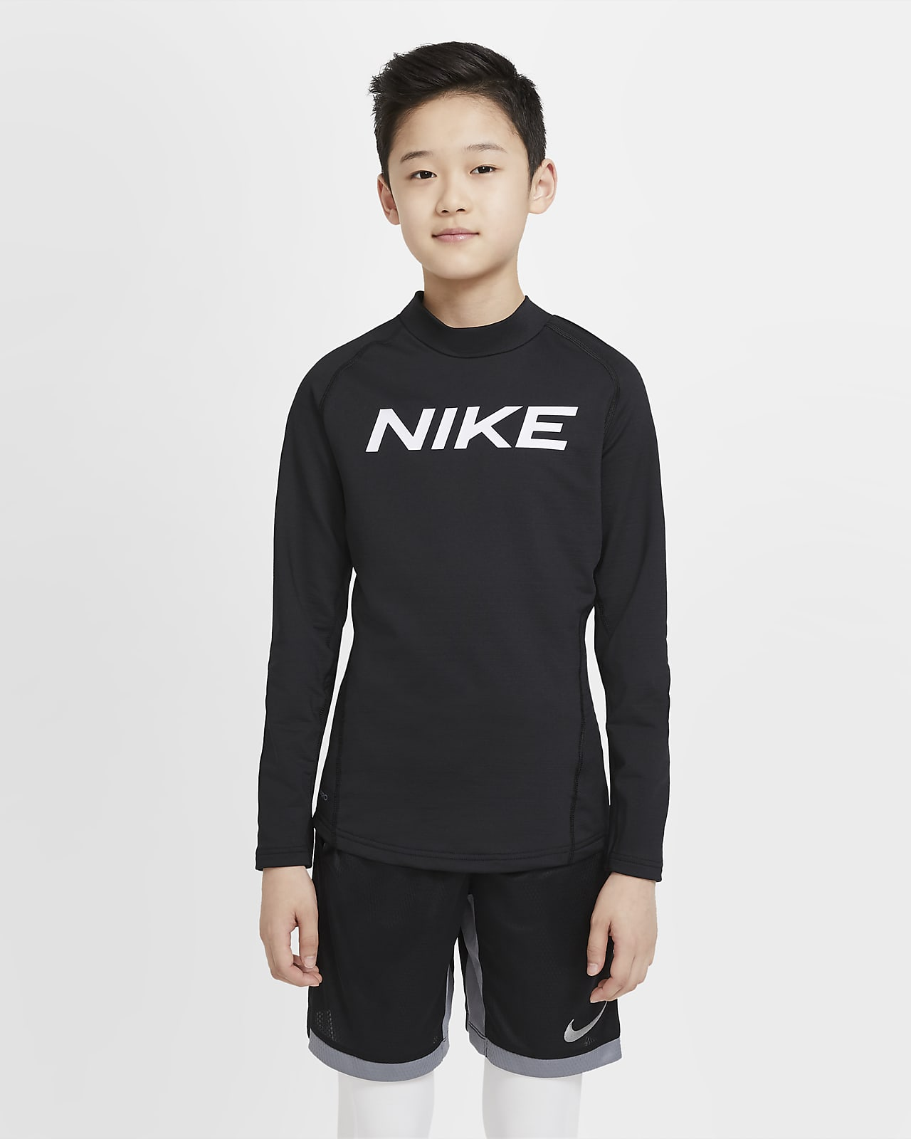 Nike Pro Warm Big Kids' (Boys') Graphic Long-Sleeve Training Top