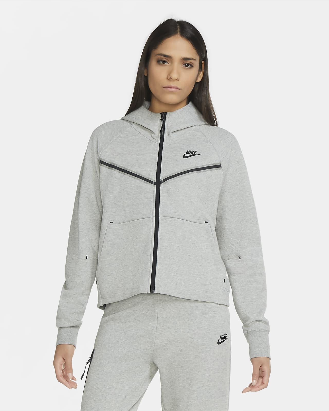 เสื้อมีฮู้ดซิปยาวผู้หญิง Nike Sportswear Tech Fleece Windrunner