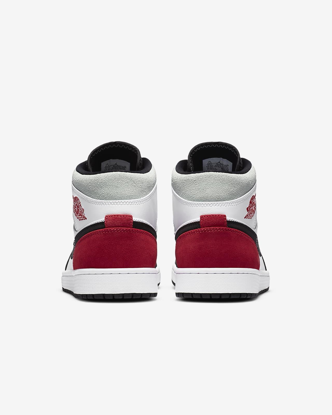 air jordan 1 mid rojo y blanco
