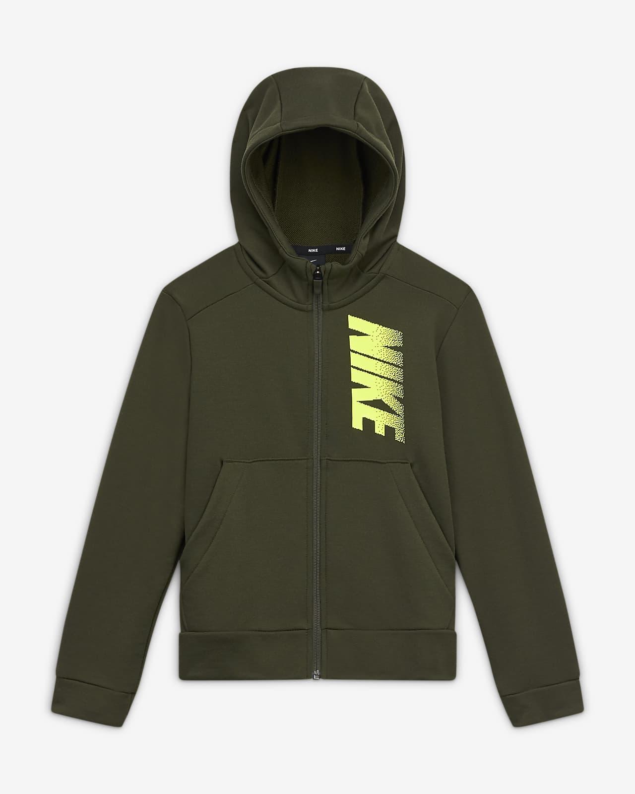 Flísová mikina skapucí, zipem po celé délce a grafickým motivem Nike Dri-FIT pro větší děti (chlapce)