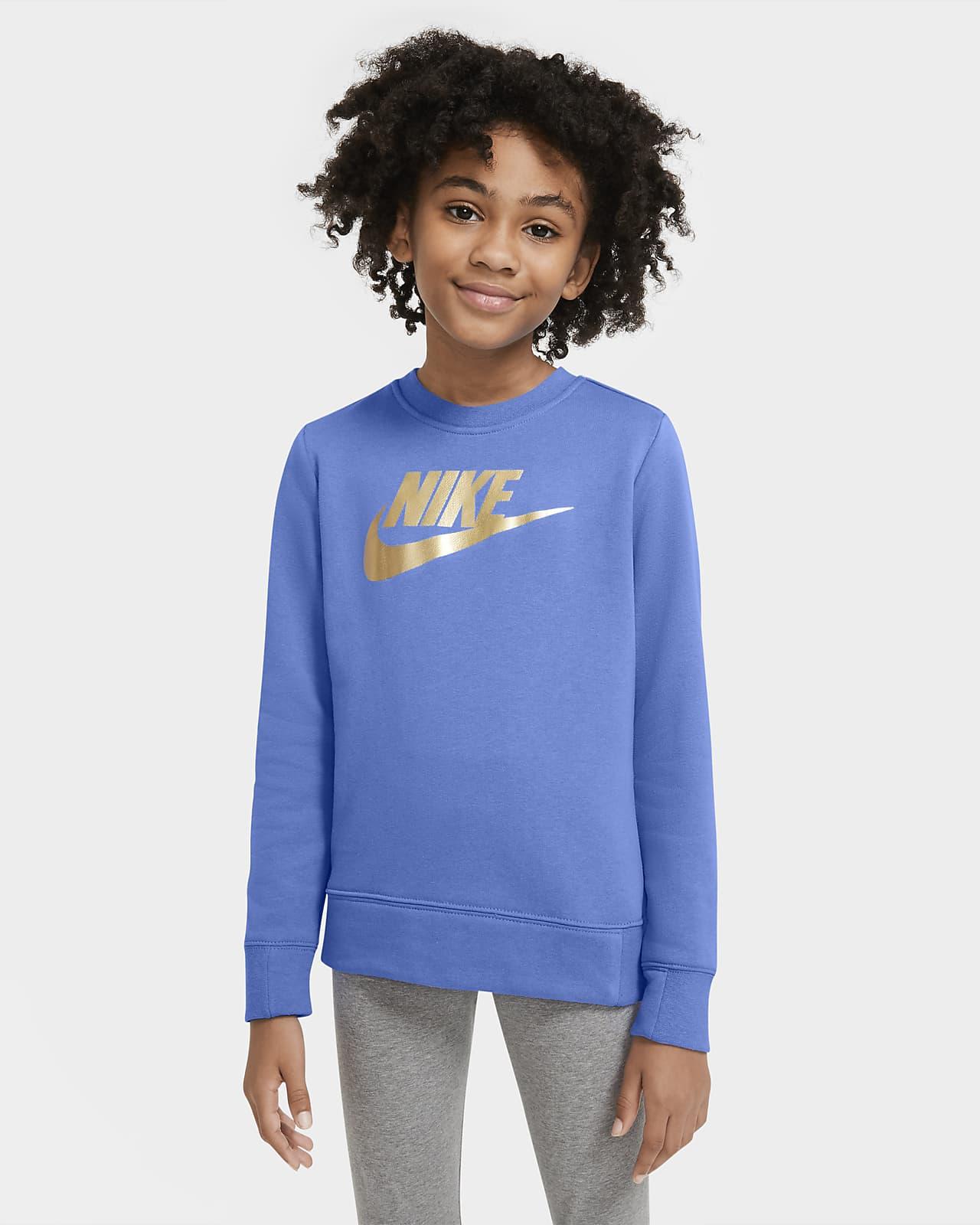 Nike Sportswear 大童 (女童) 法國毛圈布貼身圓領上衣