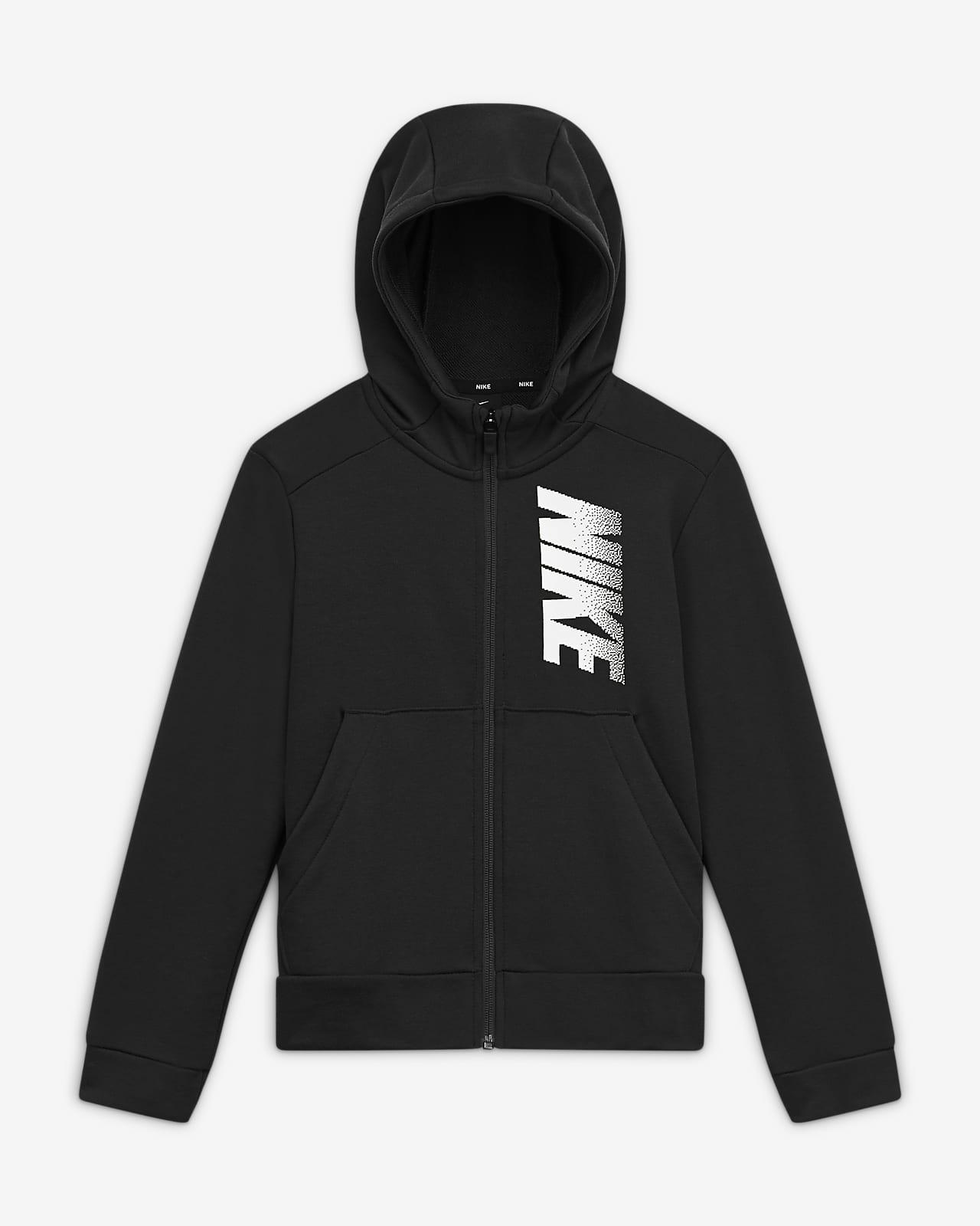 Huvtröja Nike Dri-FIT i fleece med hel dragkedja och tryck för ungdom (killar)