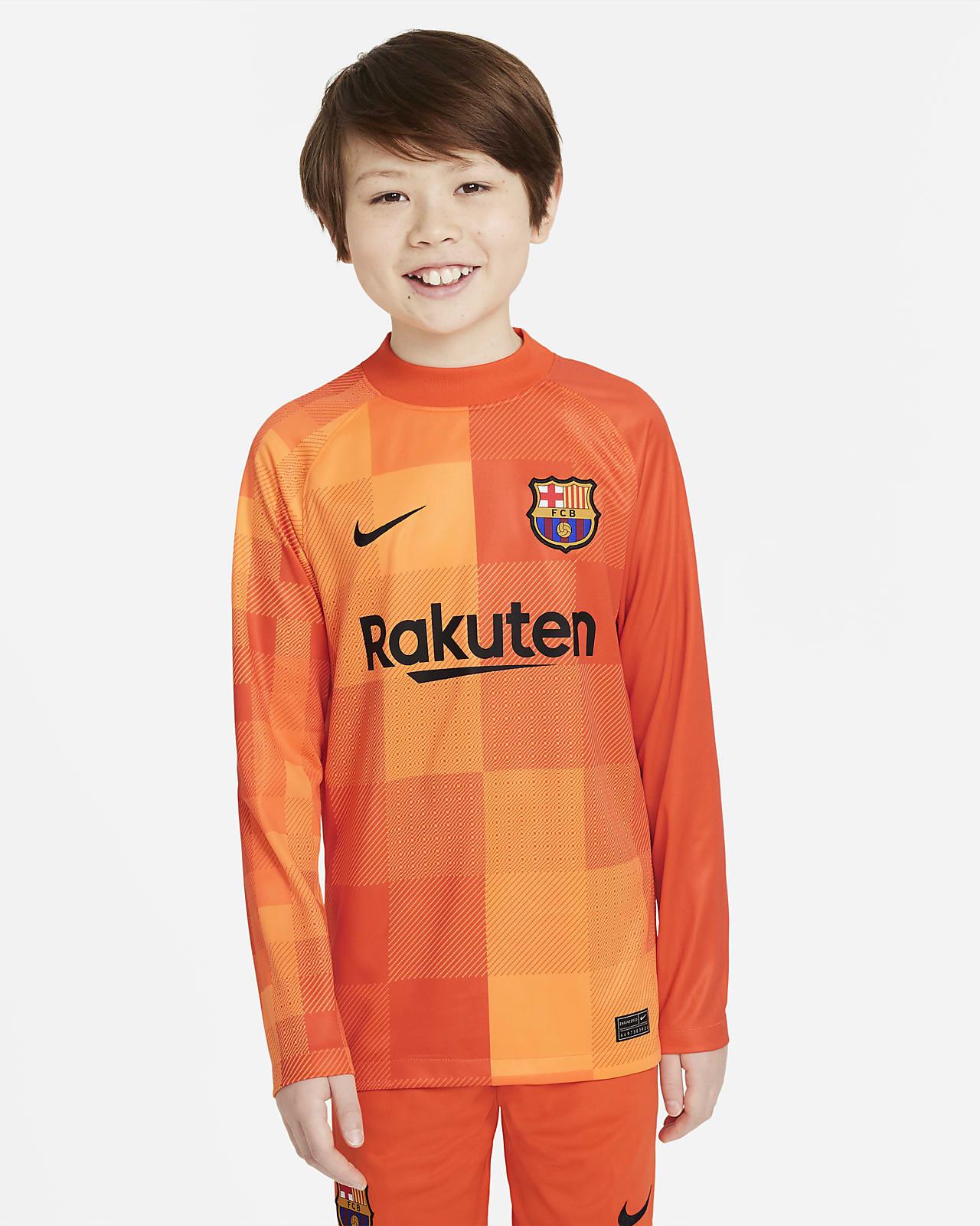 FC Barcelona 2021/22 Stadyum Kaleci Uzun Kollu Genç Çocuk Futbol Forması