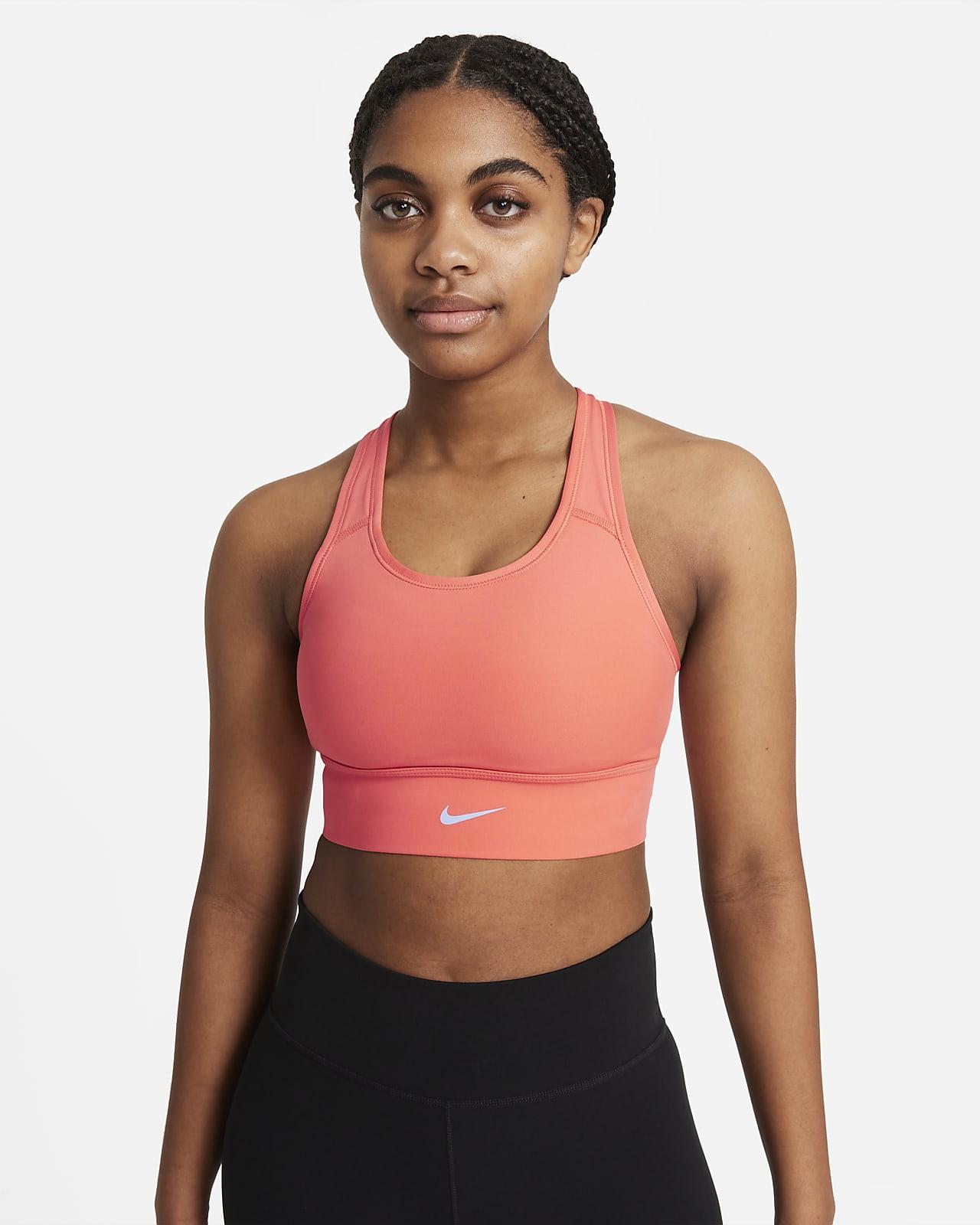 Prodloužená dámská sportovní podprsenka Nike Dri-FIT Swoosh se střední oporou ajednodílnou vycpávkou