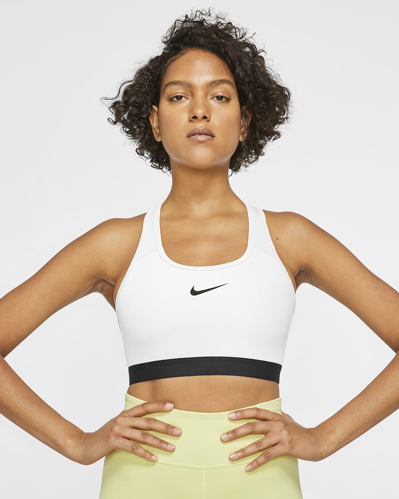 Bra deportivo de sujeción media con almohadilla de una sola pieza para mujer Nike Dri-FIT Swoosh