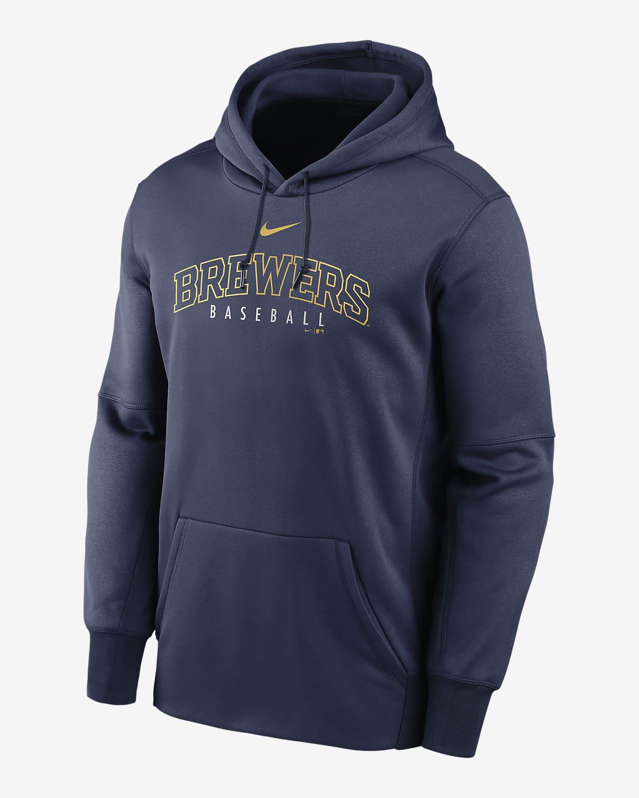 Nike Therma Outline Wordmark (MLB Milwaukee Brewers) Men's Pullover Hoodie