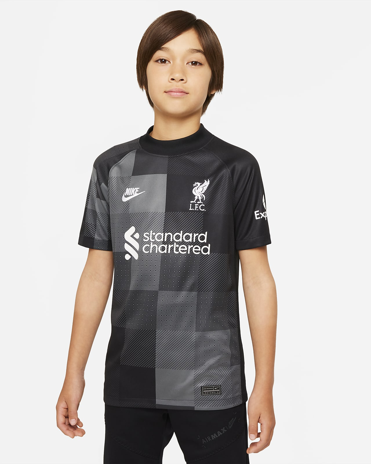Liverpool F.C. 2021/22 Stadium Goalkeeper Older Kids' Football Jersey