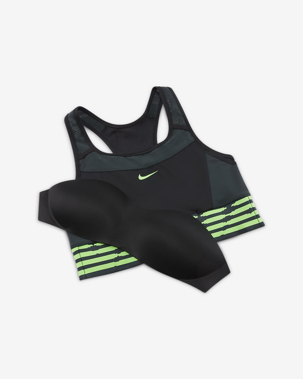 Naija Swoosh Sport-BH mit mittlerem Halt, einteiligem Polster und Tasche für Damen