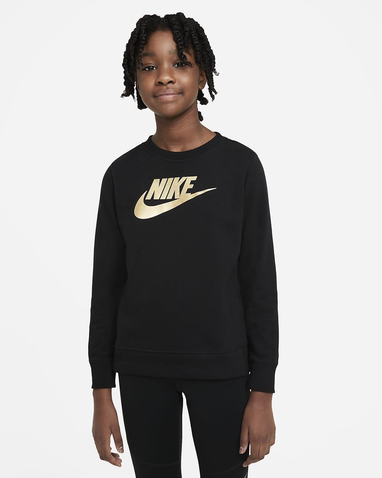 Tröja med rund hals i frotté Nike Sportswear för ungdom (tjejer)