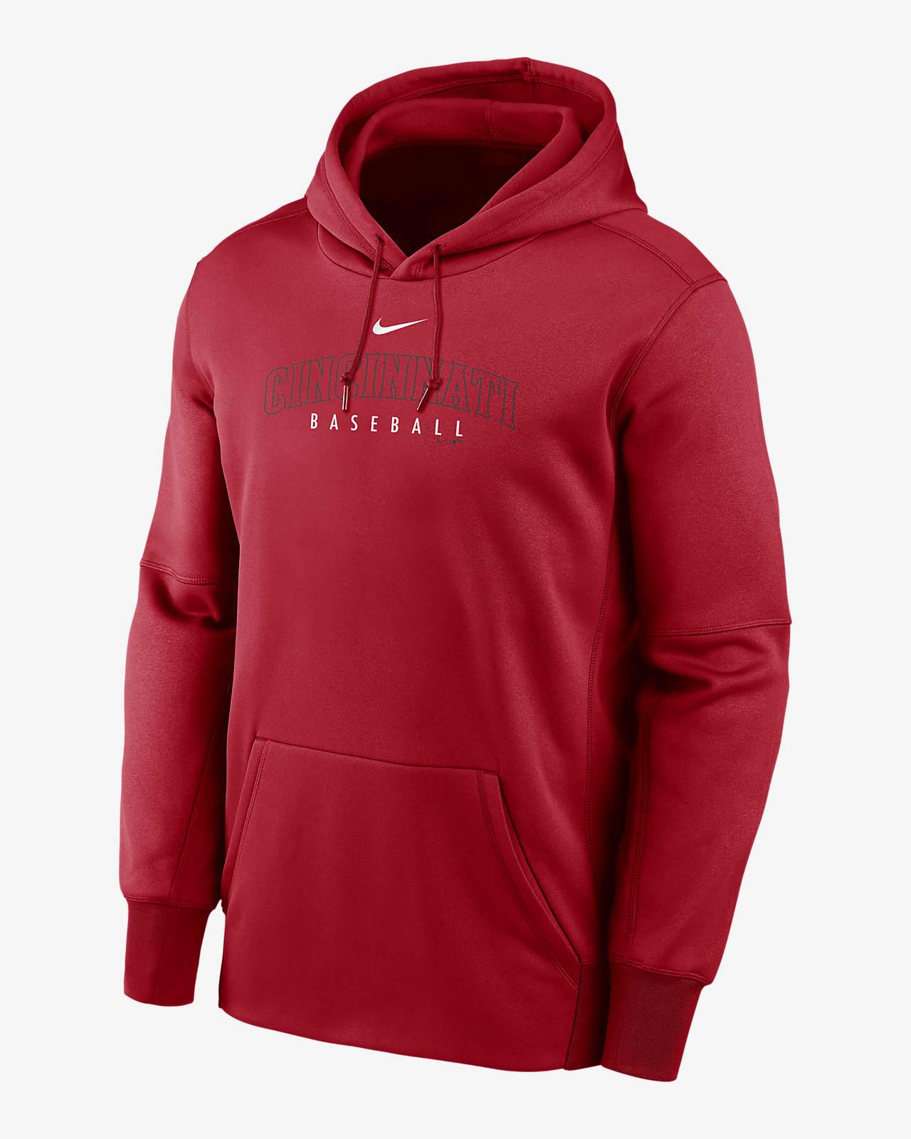Nike Therma Outline Wordmark (MLB Cincinnati Reds) Men's Pullover Hoodie