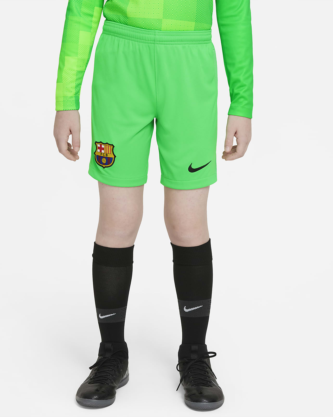 F.C. Barcelona 2021/22 Stadium Goalkeeper Older Kids' Football Shorts