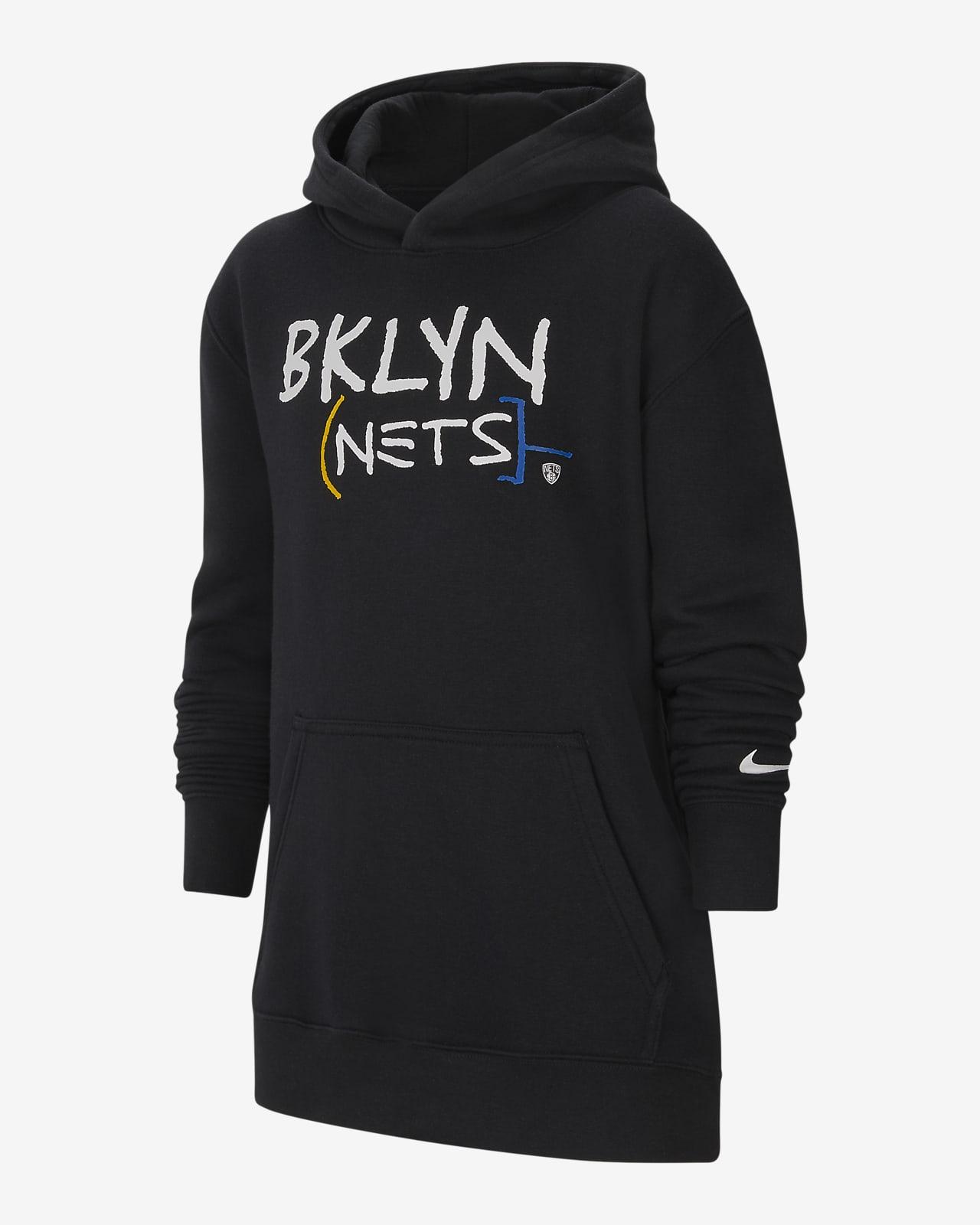 Dzianinowa bluza z kapturem dla dużych dzieci Brooklyn Nets City Edition Nike NBA