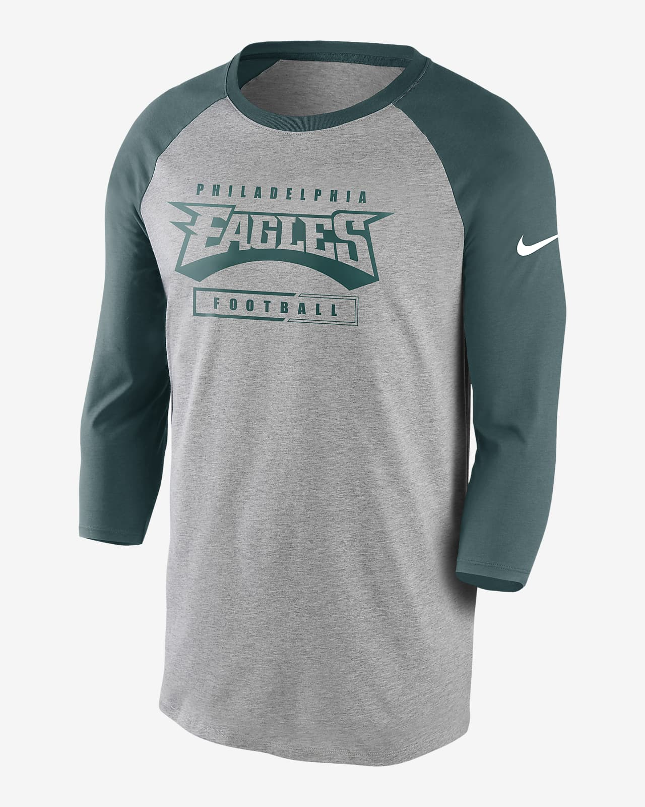 Nike Wordmark Raglan (NFL Eagles) Men's 3/4-Sleeve T-Shirt