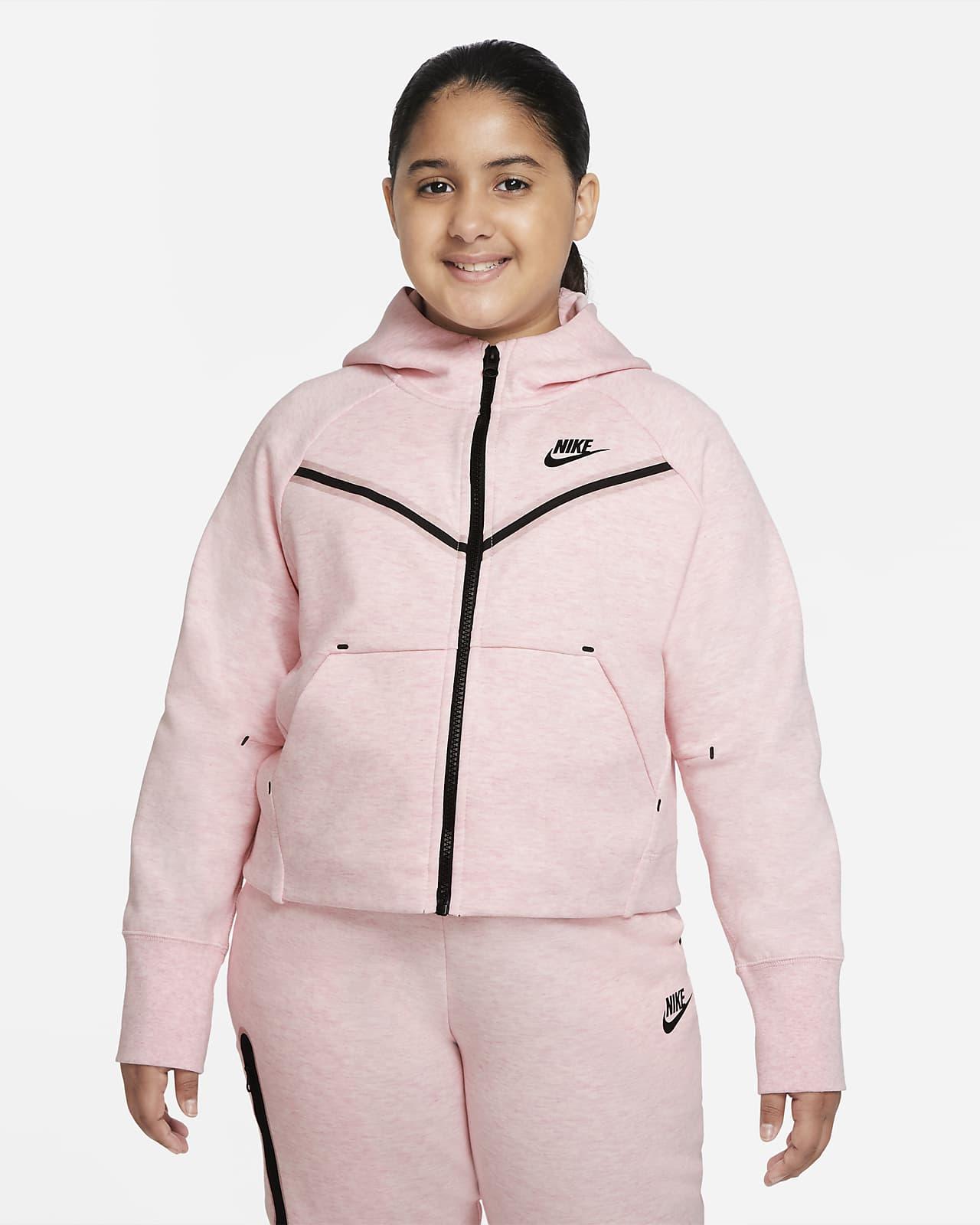 Nike Sportswear Tech Fleece Windrunner Big Kids' (Girls') Full-Zip Hoodie (Extended Size)