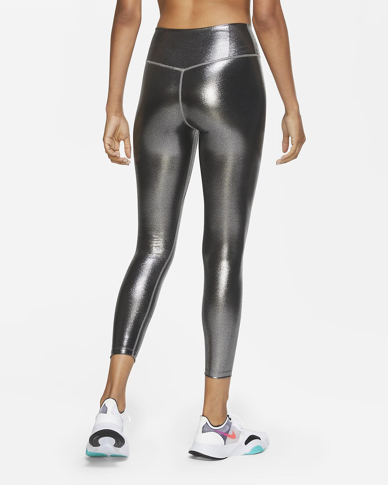 Womens Yoga Workout Leggings Shimmer Black One Size