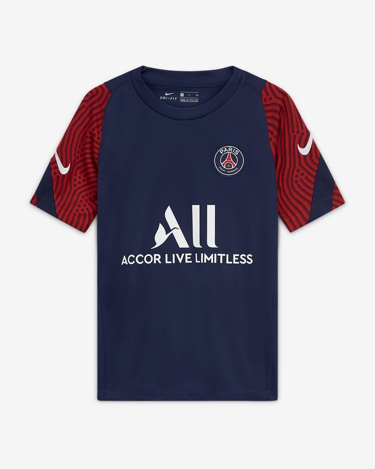Haut de football à manches courtes Paris Saint-Germain Strike pour Enfant plus âgé