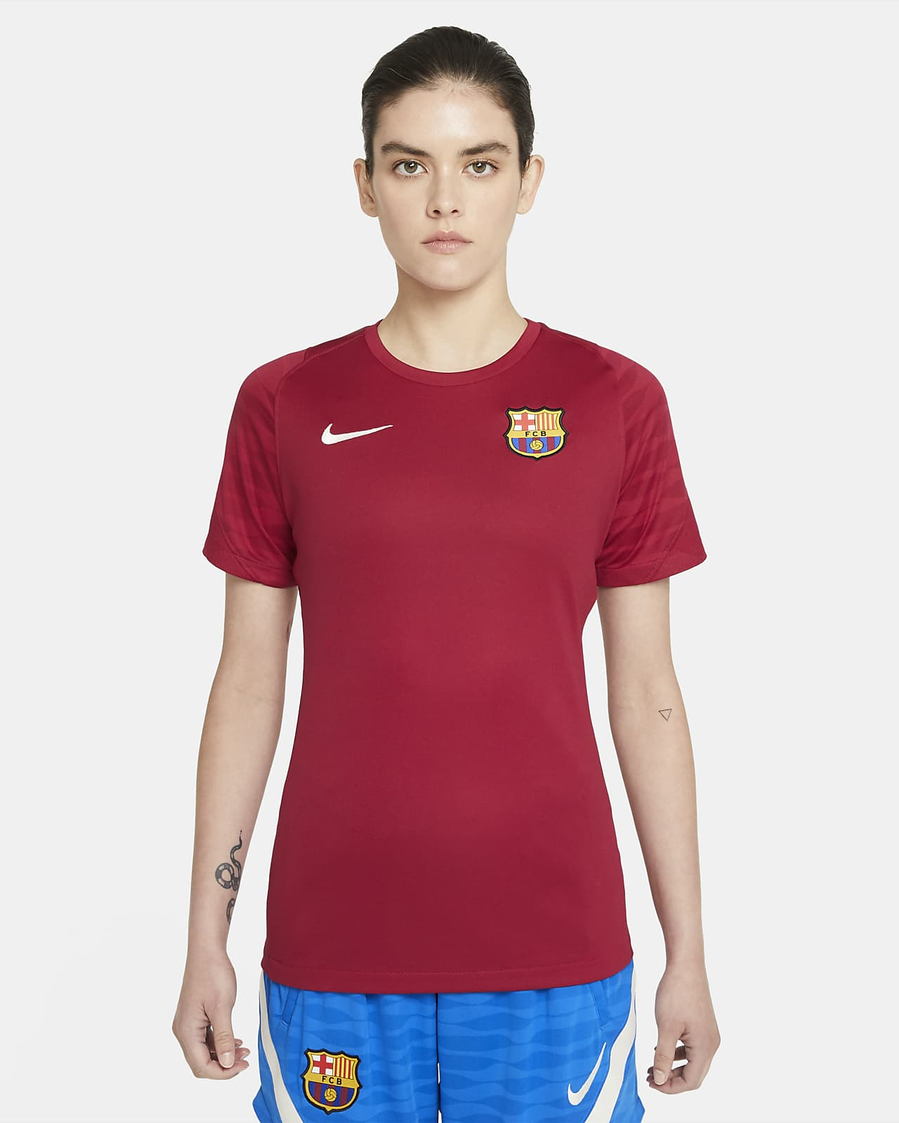 Prenda para la parte superior de fútbol de manga corta Nike Dri-FIT para mujer FC Barcelona Strike