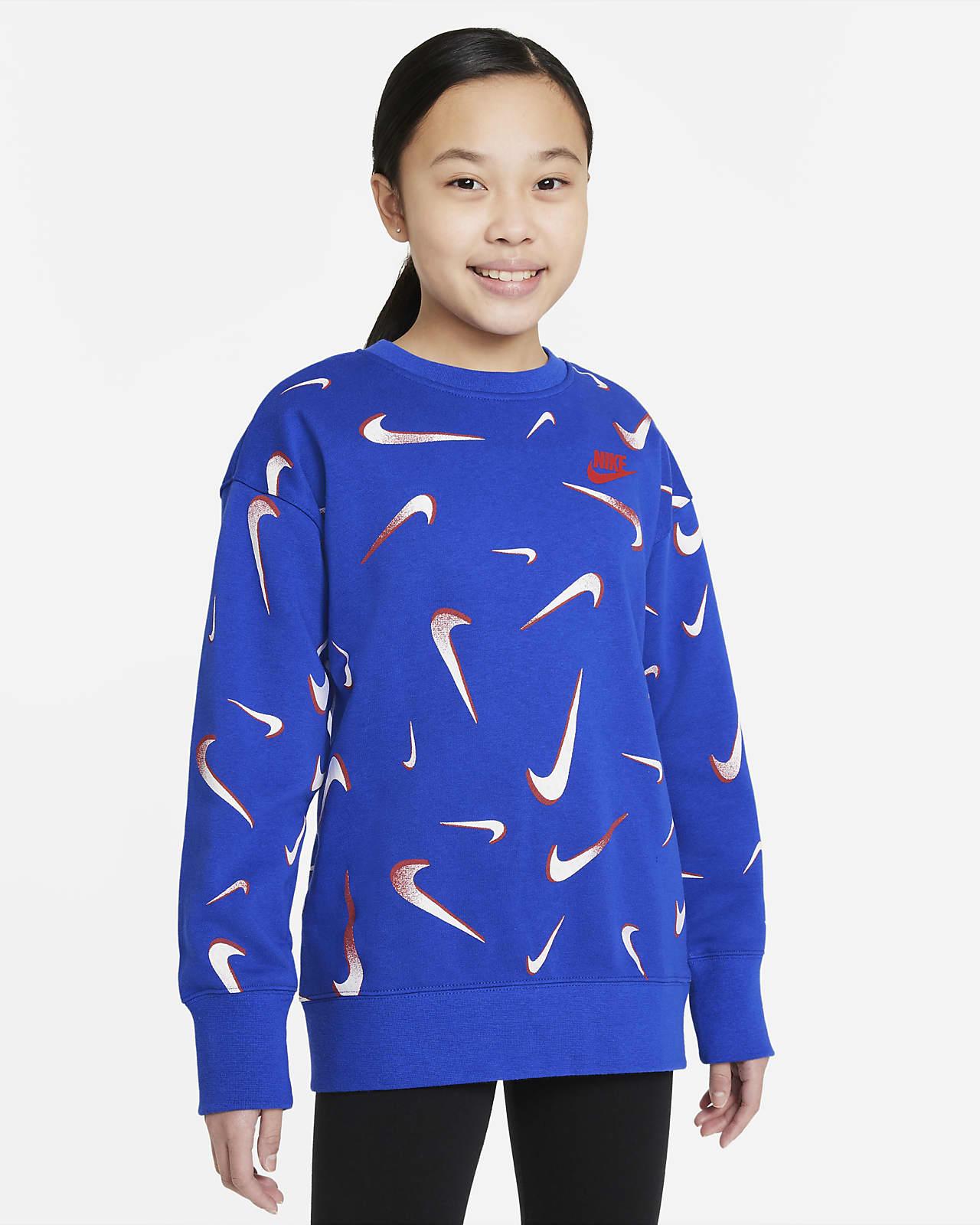 Nike Sportswear Big Kids' (Girls') French Terry Printed Crew