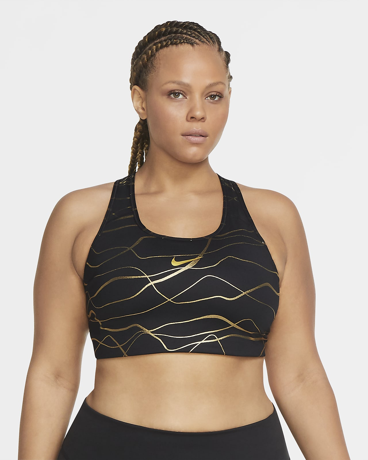Bra stampato non imbottito a sostegno medio con grafica Nike Swoosh Icon Clash (Plus size) - Donna