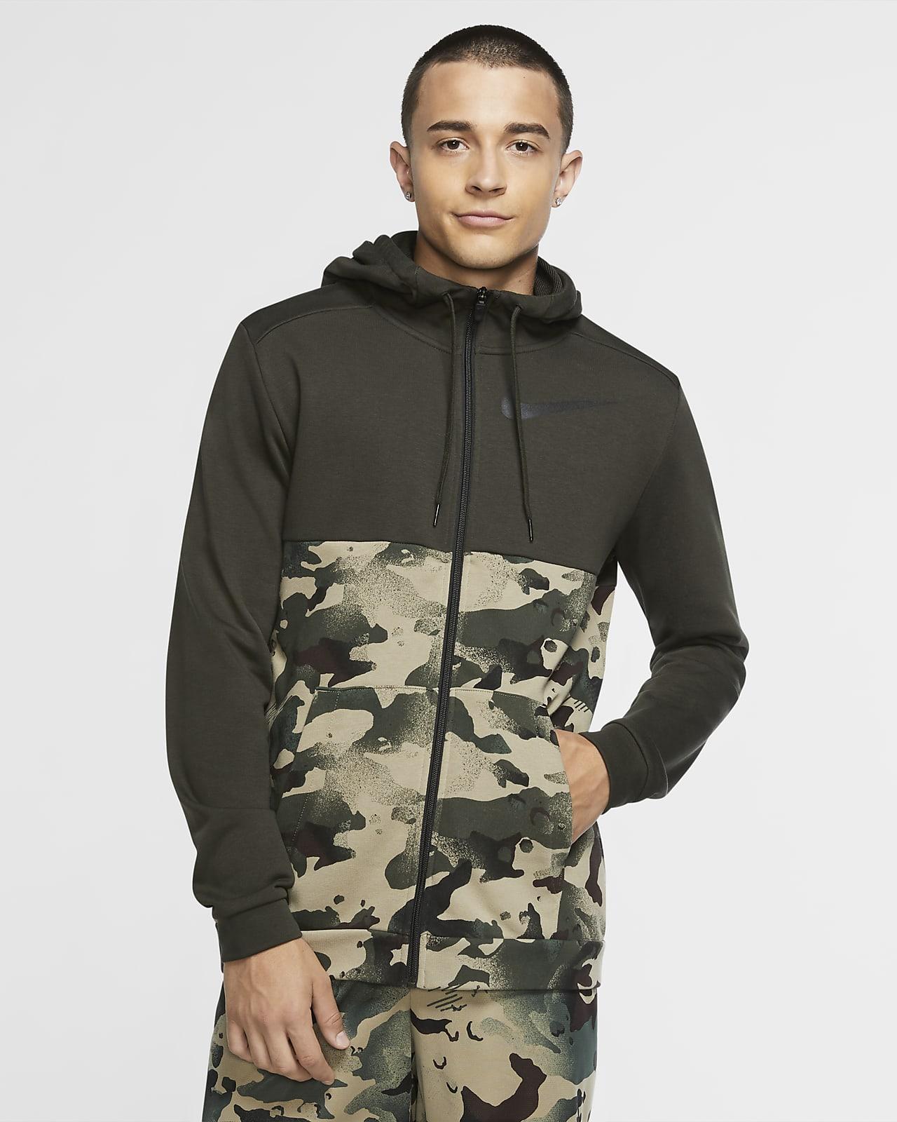 Ανδρική μπλούζα προπόνησης με κουκούλα, φερμουάρ και μοτίβο παραλλαγής Nike Dri-FIT