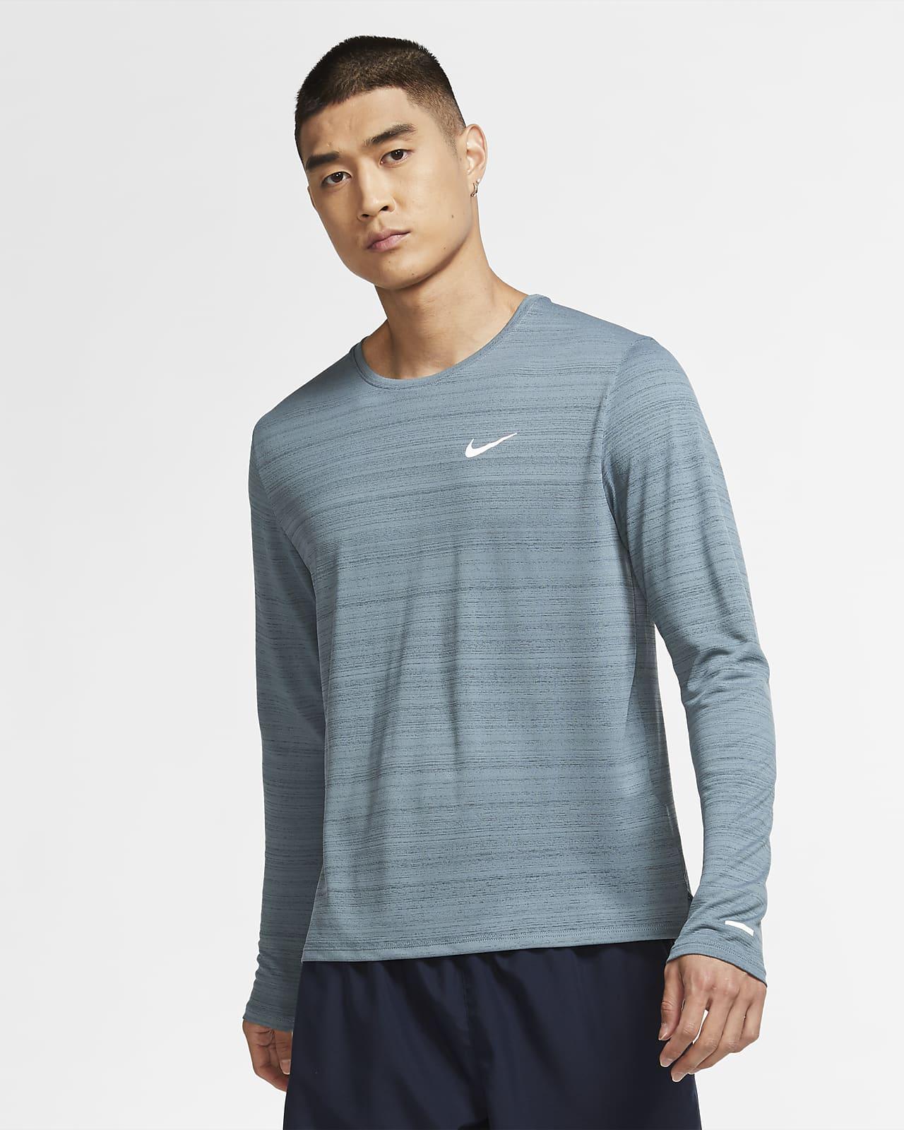 Langærmet Nike Dri-FIT Miler-løbeoverdel til mænd